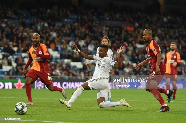 Rodrygo of Real Madrid scores his team's 6th goal during the UEFA Champions League group A match between Real Madrid and Galatasaray at Bernabeu on...