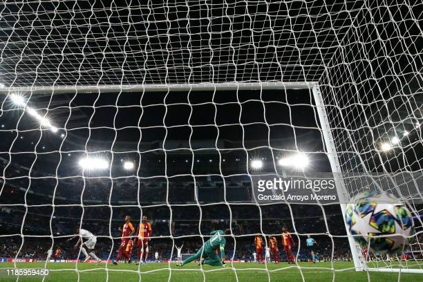 Rodrygo of Real Madrid scores his team's sixth goal during the UEFA Champions League group A match between Real Madrid and Galatasaray at Bernabeu on...
