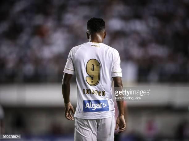 Rodrygo of Santos during the match between Santos and Estudiantes as a part of Copa Libertadores 2018 at Vila Belmiro Stadium on April 24 2018 in...