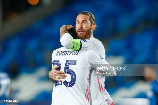 Rodrygo Silva de Goes and Sergio Ramos of Real Madrid celebrate a goal during the UEFA Champions League Group B stage match between Real Madrid and...