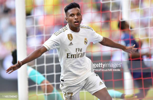 Rodrygo Silva de Goes of Real Madrid celebrates scoring a goal which was disallowed during the Audi Cup 2019 semi final match between Real Madrid and...