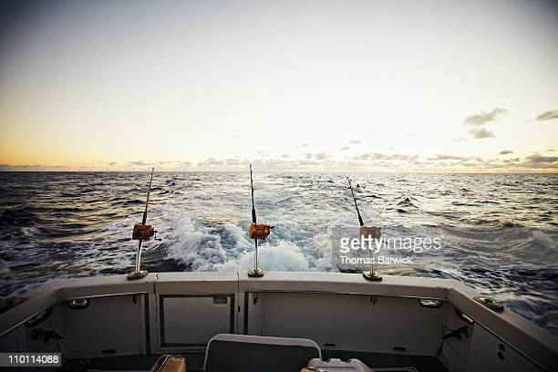 Rods and reels on board of sport fishing boat