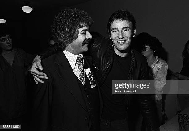Roe Johnson CBS Records meets Bruce Springsteen backstage at the Fox Theater in Atlanta Georgia October 01 1978