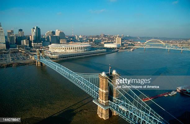 Roebling Suspension Bridge and Three Rivers Stadium on the Ohio River in Cincinnati Ohio