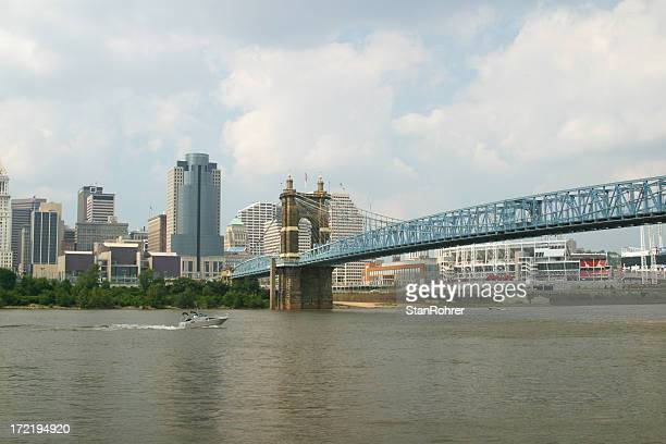 Roebling Suspension Bridge - Cincinnati, Ohio River. Skyline.