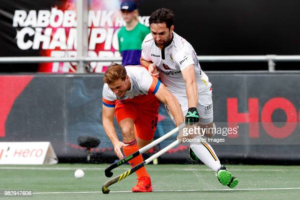 Roel Bovendeert of Holland Loick Luypaert of Belgium during the Champions Trophy match between Holland v Belgium at the Hockeyclub Breda on June 24...