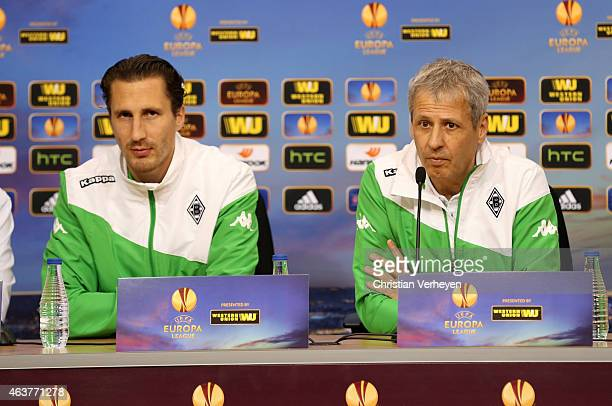 Roel Brouwers and Head Coach Lucien Favre of Borussia Moenchengladbach during the press conference of Borussia Moenchengladbach at Estadio Ramon...