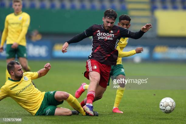 SITTARD Roel Janssen of Fortuna Sittard Orkun Kokcu or Feyenoord makes a foul and gets the red card during the Dutch Eredivisie match between Fortuna...