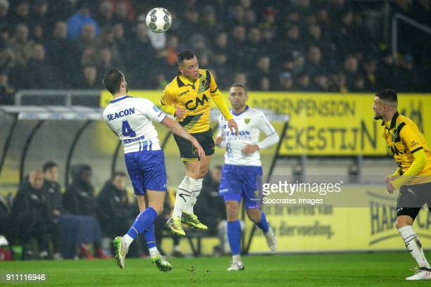Roel Janssen of VVV Venlo Giovanni Korte of NAC Breda during the Dutch Eredivisie match between NAC Breda v VVVVenlo at the Rat Verlegh Stadium on...
