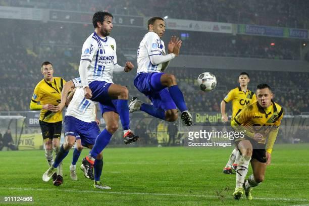 Roel Janssen of VVV Venlo Johnatan Opoku of VVV Venlo Giovanni Korte of NAC Breda during the Dutch Eredivisie match between NAC Breda v VVVVenlo at...