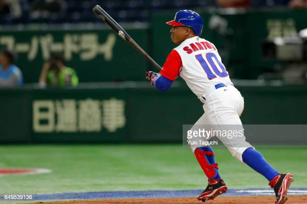 Roel Santos of Team Cuba hits a tworun triple in fourth inning during Game 2 of Pool B against Team China at the Tokyo Dome on Wednesday March 8 2017...