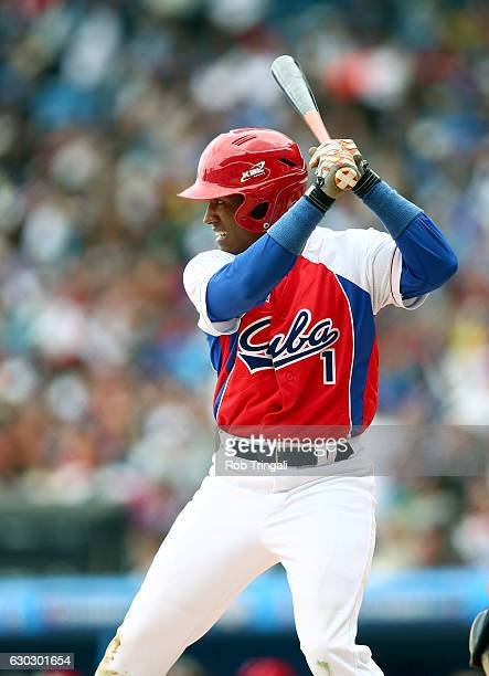 Roel Santos of the Cuban National team bats during the game against the Tampa Bay Rays at Estadio Latinoamericano on Tuesday March 22 2016 in Havana...