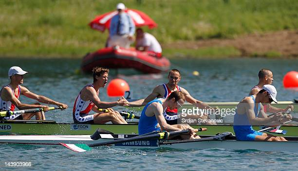 Roeland Lievens Timothee Heijbrock Vincent Muda and Tycho Muda of Netherlands reacts in the Lightweight Men's Four during Day 2 of the 2012 Samsung...