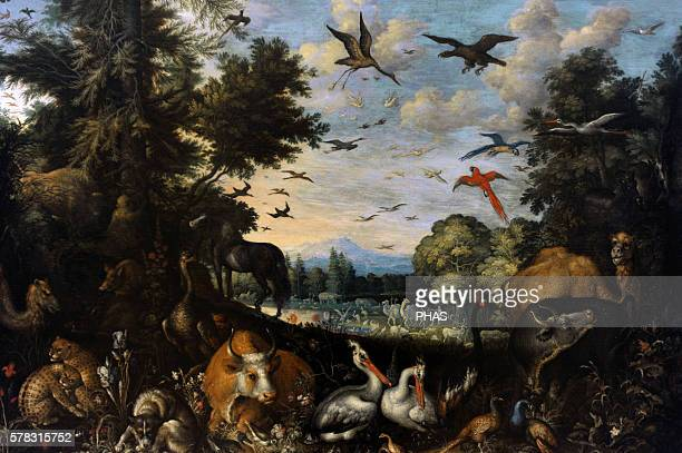 Roelandt Savery Flemish painter The Garden of Eden 1618 National Gallery Prague Czech Republic