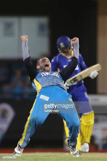 Roelof van der Merwe celebrates the wicket of Shoaib Malik during a match between St Lucia Zouks and Barbados Tridents as part of week 4 of the...