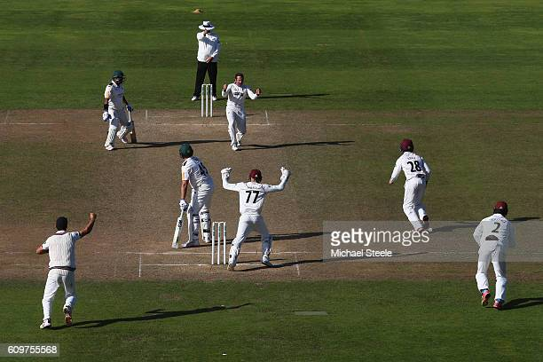 Roelof van der Merwe of Somerset celebrates capturing the lbw wicket of Michael Lumb of Nottinghamshire during day three of the Specsavers County...