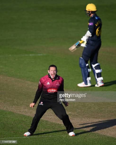 Roelof Van Der Merwe of Somerset celebrates taking the wicket of Lukas Carey and victory during the Royal London One Day Cup match between Glamorgan...