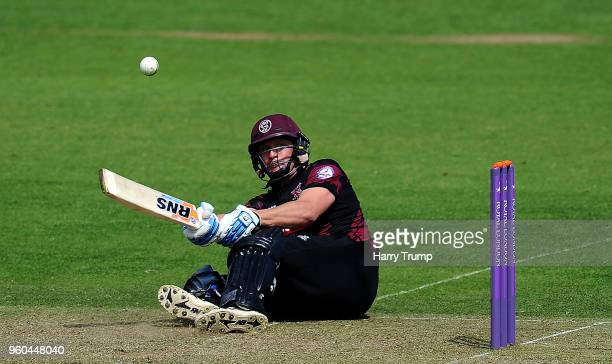 Roelof Van Der Merwe of Somerset plays an unsual shot during the Royal London OneDay Cup match between Somerset and Glamorgan at The Cooper...