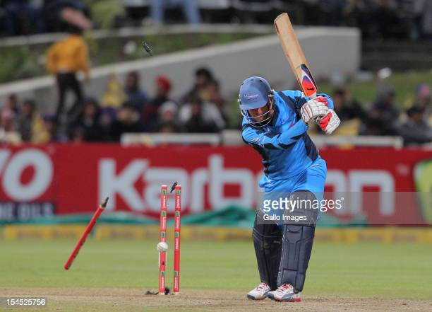 Roelof van der Merwe of the Titans is bowled out during the Champions league twenty20 match between CLT20 Kolkata Knight Riders v Nashua Titans at...