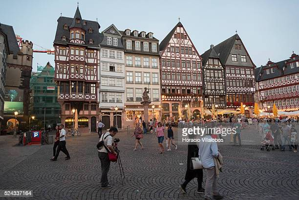 Roemerberg square at dusk in Frankfurt Germany 29 August 2015 The Roemerberg is the historic heart of Frankfurt and since the High Middle Ages the...