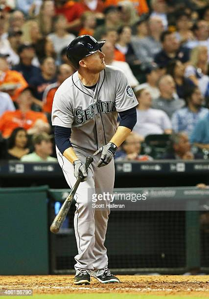 Roenis Elias of the Seattle Mariners watches his tworun home run in the fifth inning of their game against the Houston Astros at Minute Maid Park on...