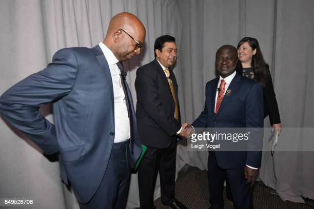Roert Bob Collymore CEO Safaricom HE Nana AkufoAddo President of the Republic of Ghana and Sanjay Pradhan Chief Executive Officer Open Government...