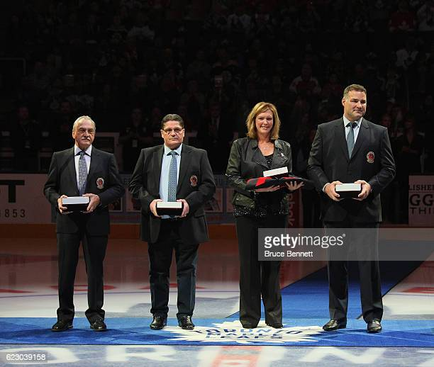 Rogatien Vachon Sergei Makarov Kalli Quinn representing the late Pat Quinn and Eric Lindros take part in a Hall of Fame Induction event prior to the...