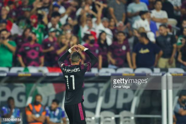 Rogelio Funes Mori of Mexico celebrates after scoring his team's first goal during to the a quarterfinal match between Mexico and Honduras as part of...