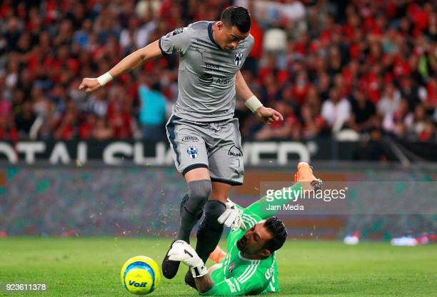 Rogelio Funes Mori of Monterrey and Miguel Fraga of Atlas compete for the ball during the 9th round match between Atlas and Monterrey as part of the...