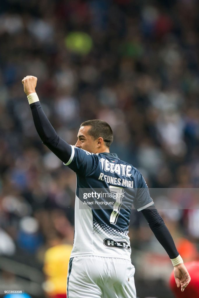 Rogelio Funes Mori of Monterrey celebrates after scoring his team'u2019s first goal during the first round match between Monterrey and Morelia as part of the Torneo Clausura 2018 Liga MX at BBVA Bancomer Stadium on January 6, 2018 in Monterrey, Mexico.