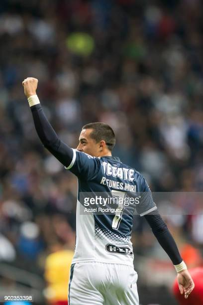 Rogelio Funes Mori of Monterrey celebrates after scoring his team'u2019s first goal during the first round match between Monterrey and Morelia as...