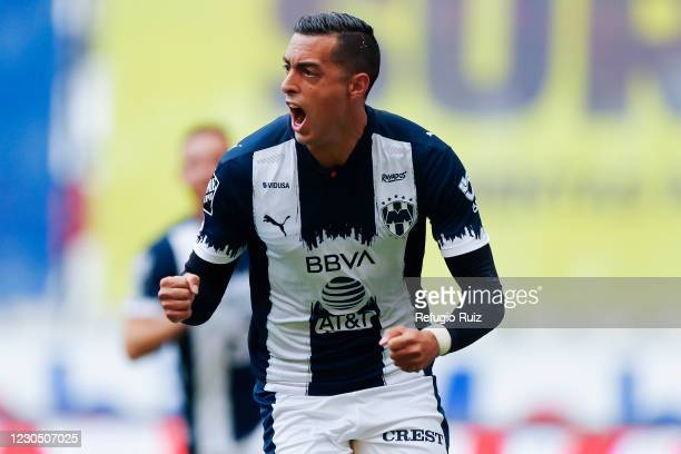 Rogelio Funes Mori of Monterrey celebrates after scoring his team's second goal of his team during the 1st round match between Atlas and Monterrey as...