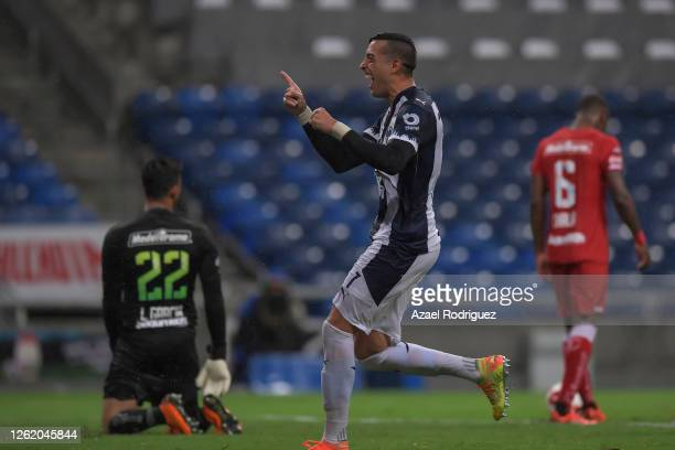 Rogelio Funes Mori of Monterrey celebrates after scoring his team's third goal during the 1st round match between Monterrey and Toluca as part of the...