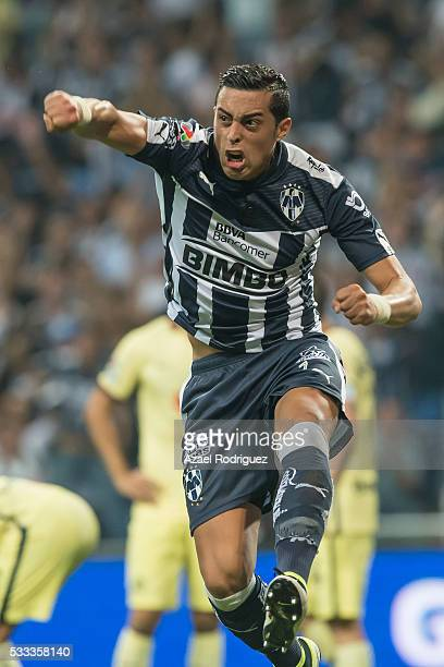 Rogelio Funes Mori of Monterrey celebrates after scoring his team's second goal during the semi finals second leg match between Monterrey and America...