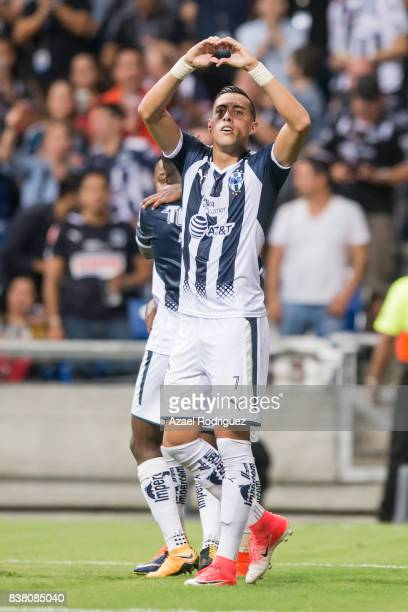 Rogelio Funes Mori of Monterrey celebrates after scoring his team's second goal during the 6th round match between Monterrey and Toluca as part of...