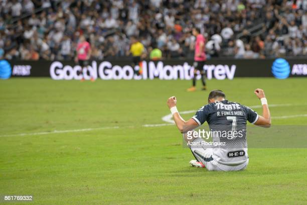 Rogelio Funes Mori of Monterrey celebrates after scoring his team's first goal during the 13th round match between Monterrey and Pachuca as part of...