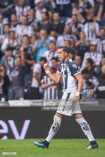 Rogelio Funes Mori of Monterrey celebrates after scoring his team's fourth goal during the semifinal second leg match between Monterrey and Morelia...