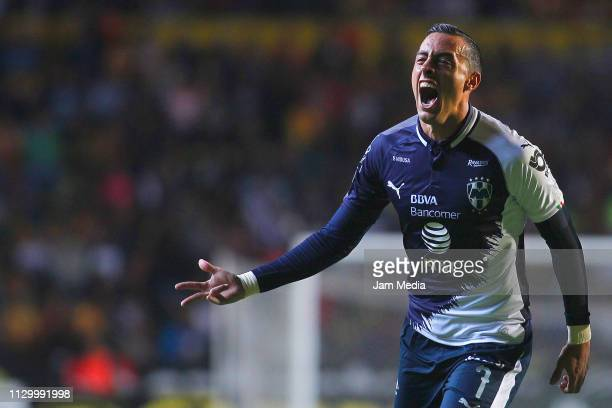 Rogelio Funes Mori of Monterrey celebrates after scoring the first goal of his team during the seventh round match between Morelia and Monterrey as...