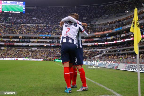 Rogelio Funes Mori of Monterrey celebrates after scoring the first goal of his team during the Final second leg match between America and Monterrey...