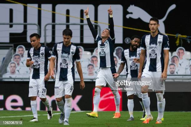 Rogelio Funes Mori of Monterrey celebrates after scoring the first goal of his team during the 1st round match between Monterrey and Toluca as part...