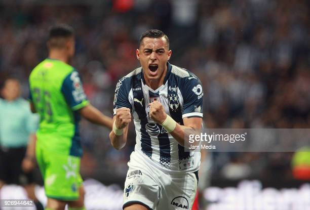 Rogelio Funes Mori of Monterrey celebrates after scoring the first goal of his team during the 10th round match between Monterrey and Puebla as part...