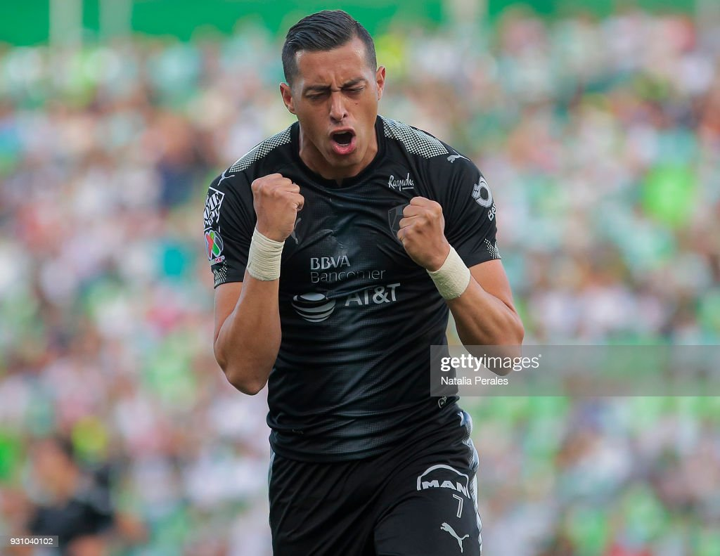 Rogelio Funes Mori of Monterrey celebrates after scoring the first goal of his team during the 11th round match between Santos Laguna and Monterrey as part of the Torneo Clausura 2018 Liga MX at Corona Stadium on March 11, 2018 in Torreon, Mexico.