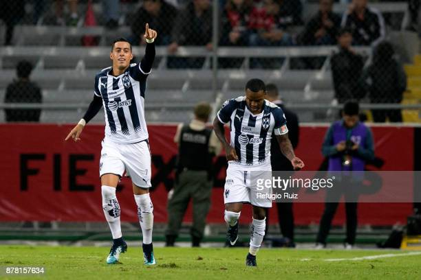 Rogelio Funes Mori of Monterrey celebrates after scoring the second goal of his team during the quarter finals first leg match between Atlas and...