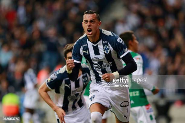 Rogelio Funes Mori of Monterrey celebrates after scoring the second goal of his team during the 5th round match between Monterrey and Leon as part of...