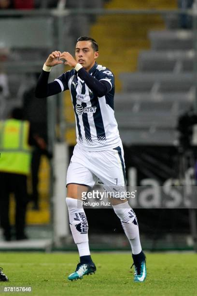 Rogelio Funes Mori of Monterrey celebrates after socirng the first goal of his team during the quarter finals first leg match between Atlas and...
