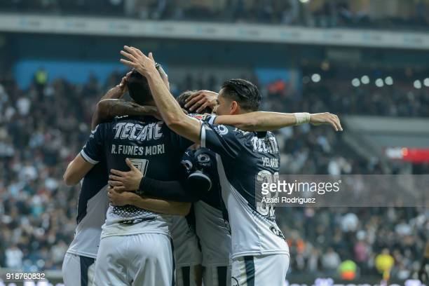 Rogelio Funes Mori of Monterrey celebrates with teammates after scoring his team's first goal during the 7th round match between Monterrey and Cruz...