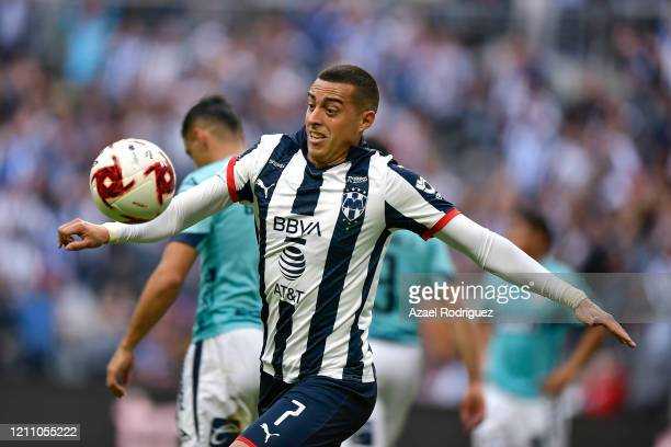 Rogelio Funes Mori of Monterrey controls the ball during the 9th round match between Monterrey and Atletico San Luis as part of the Torneo Clausura...