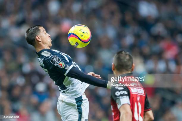 Rogelio Funes Mori of Monterrey controls the ball during the third round match between Monterrey and Tijuana as part of Torneo Clausura 2018 Liga MX...