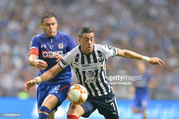 Rogelio Funes Mori of Monterrey fights for the ball with Pablo Aguilar of Cruz Azul during the Final match between Monterrey and Cruz Azul as part of...