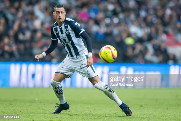Rogelio Funes Mori of Monterrey observes the ball during the third round match between Monterrey and Tijuana as part of Torneo Clausura 2018 Liga MX...